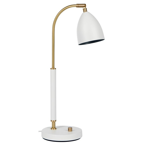 Deluxe bordslampa LED, mattvit/mässing 50,7cm